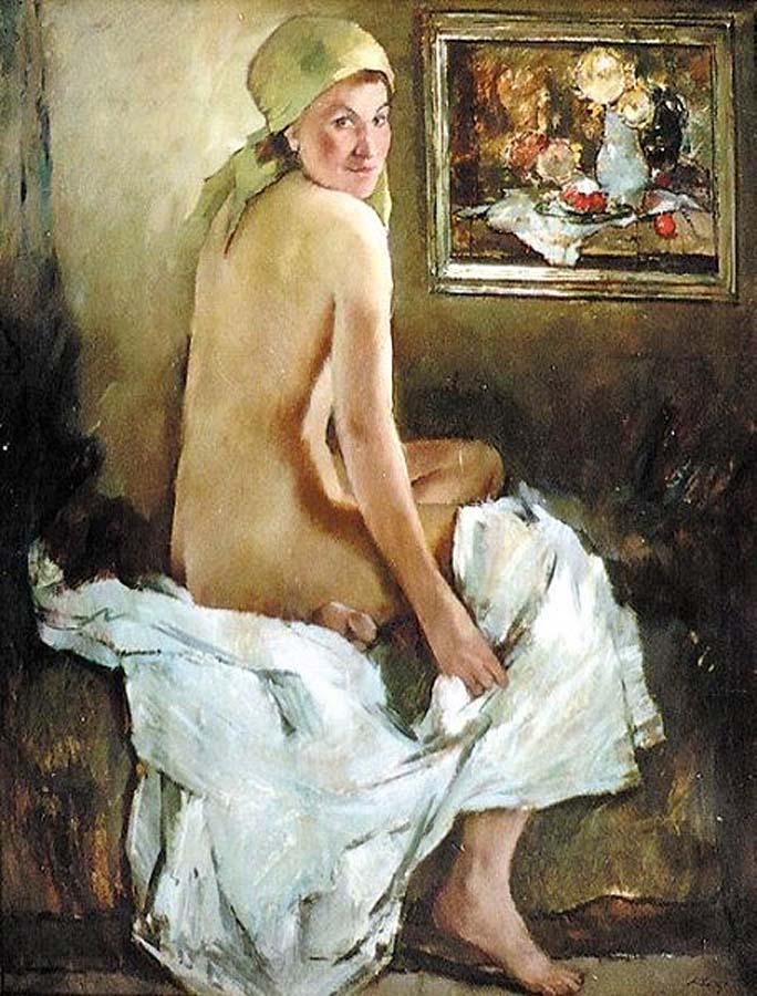 Rückenakt mit Stilleben (1945)Anton Lutz, (1894 - 1992), Austria. Оглянувшаяся обнажённая с натюрмортом. Антон Лутц (1894 - 1992)
