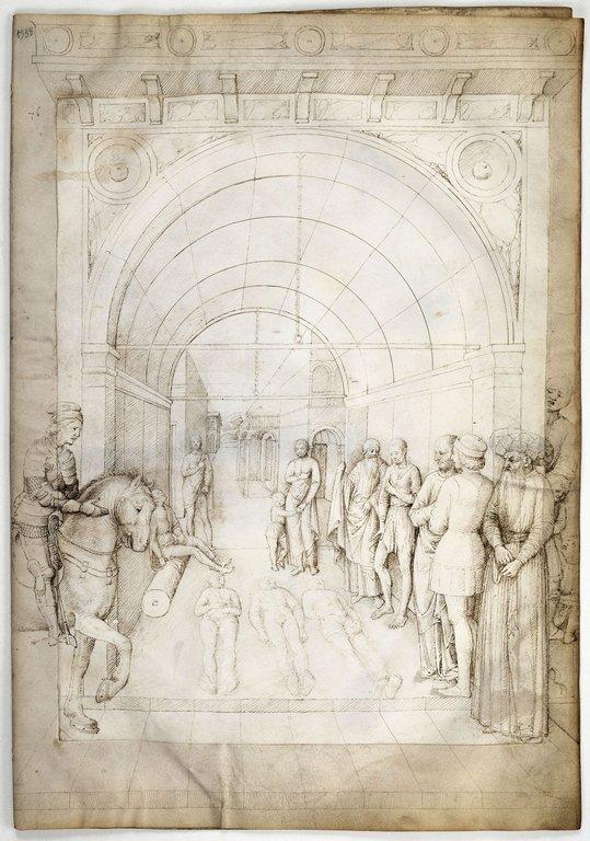 Trois cadavres entourйs de spectateurs, sous un portique