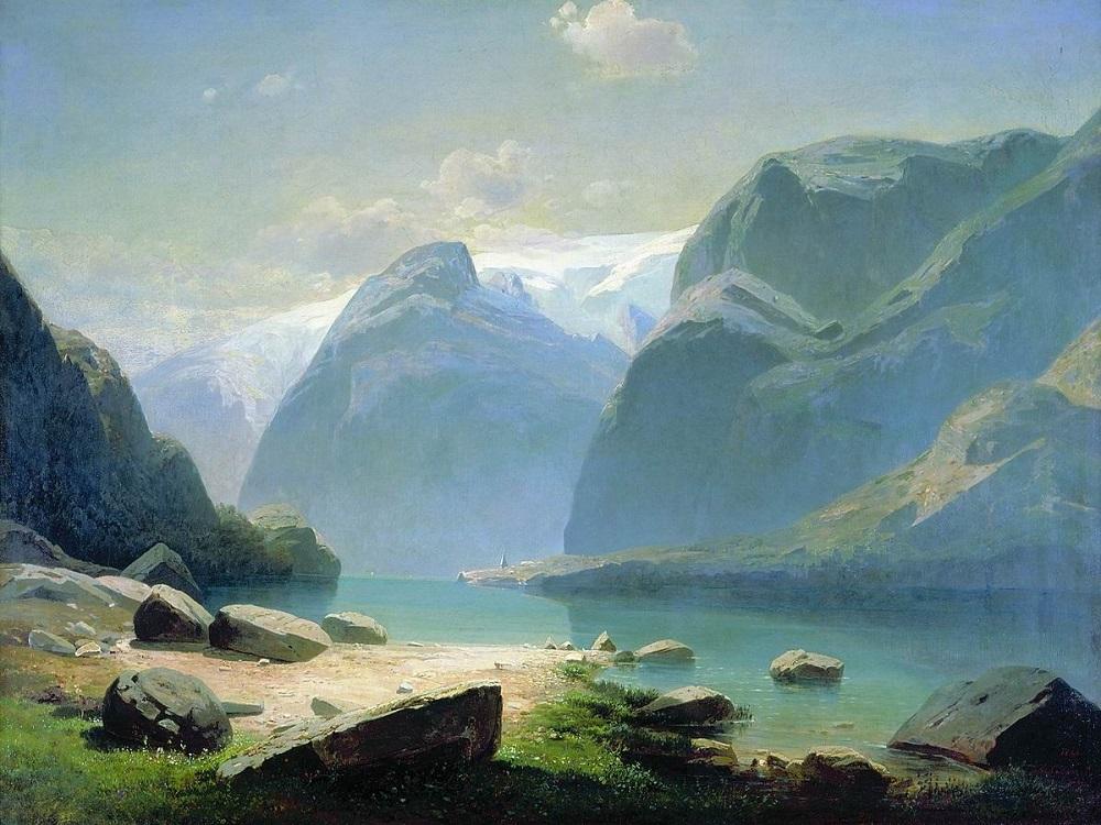 Озеро в горах в Швейцарии 1866 холс масло  51 х 68 см ГТГ.jpg