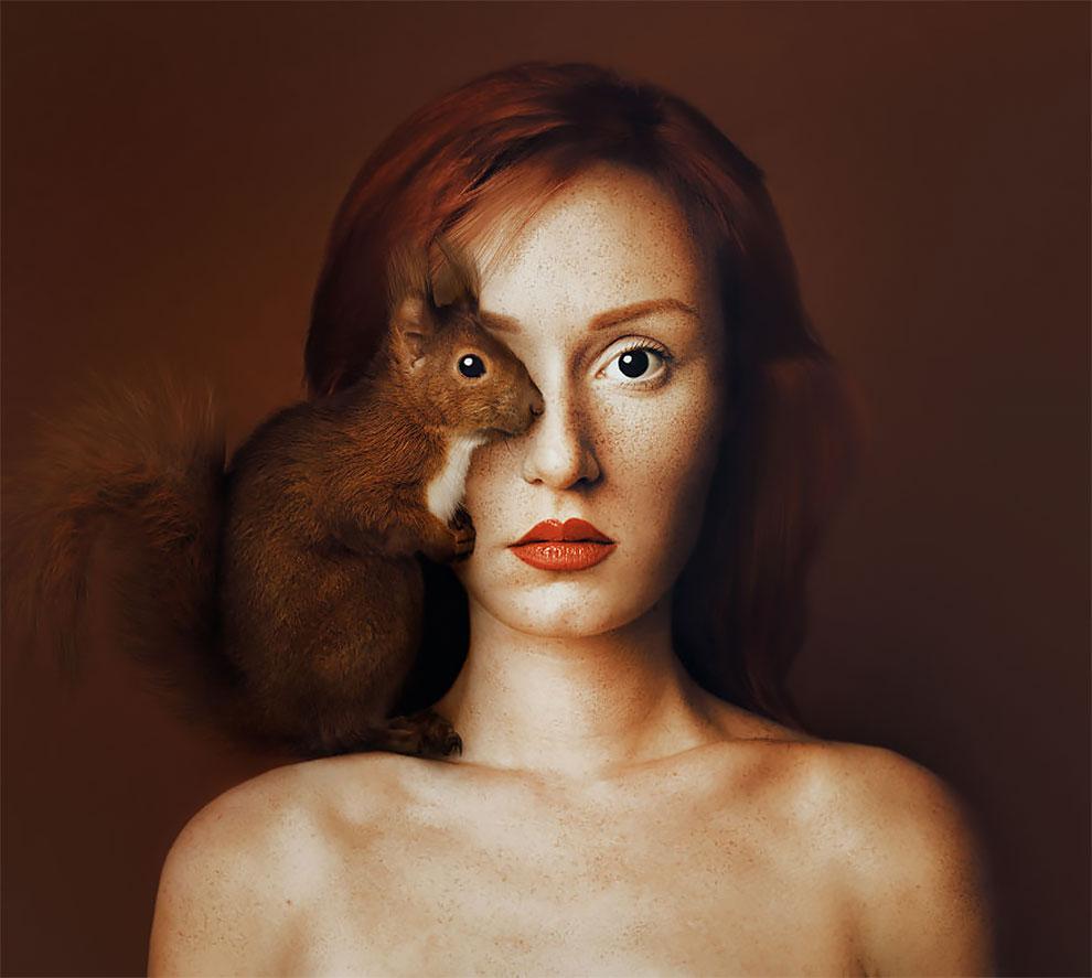 В своем новом фотопроекте она решила сделать автопортреты таким образом, чтобы один ее глаз перекрыв