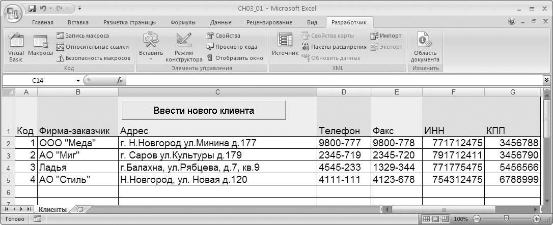 Рис. 3.1. Справочная информация о клиентах