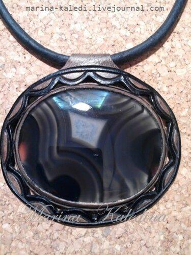 Кулон (40) с черным агатом