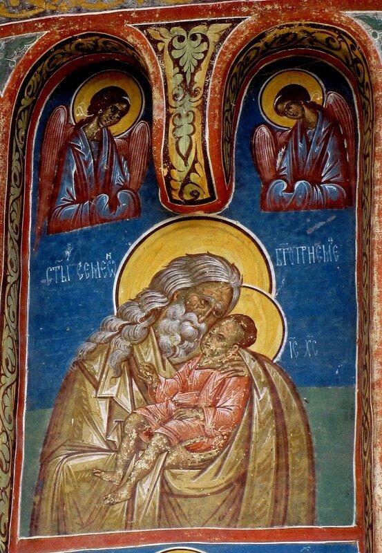 Святой Праведный Симеон Богоприимец. Фреска на внешней стене церкви монастыря Воронец, Румыния. 1547 год.