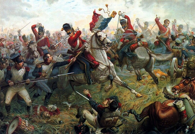 1815 Waterloo, El sargento Ewart,de los Scots Greys,captura el águila del 45º regimiento de infantería de línea francés.jpg