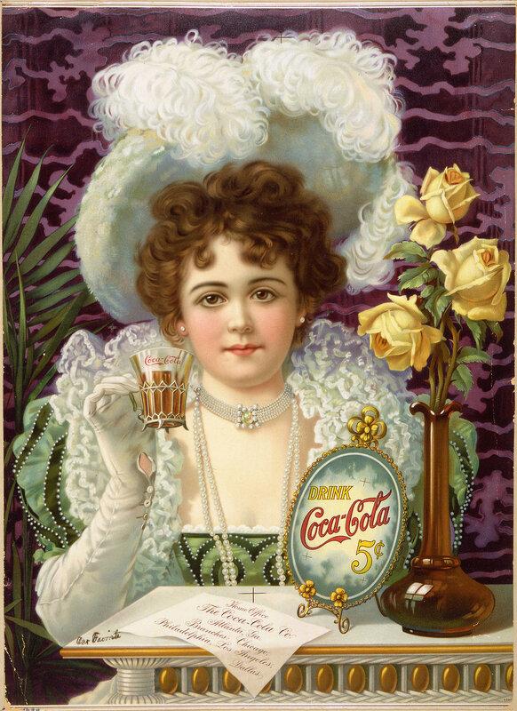 Кока-Кола за 5 центов - рекламный плакат Кока-Колы периода 1890 - 1900 годов.