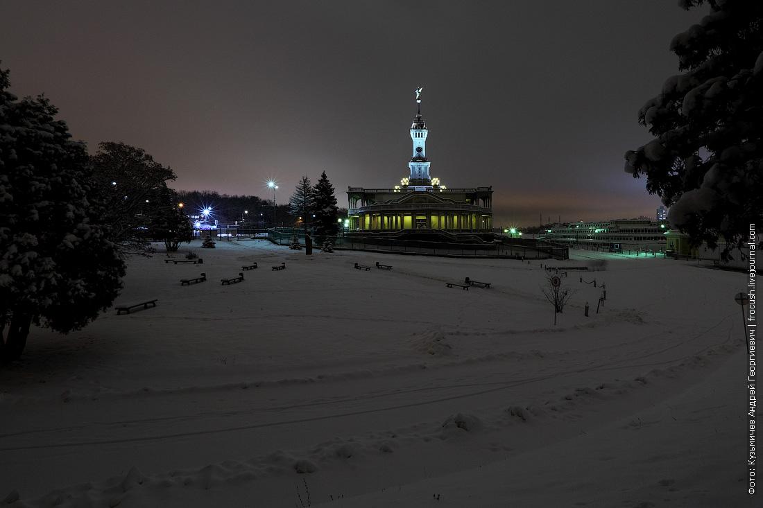 Северный речной вокзал ночная зимняя фотография