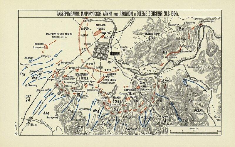 Развертывание Манчжурской армии под Ляояном и боевые действия 30 августа 1904 года