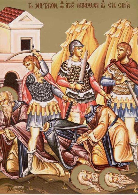 Мученичество Преподобных отцов, в Синае избиенных.