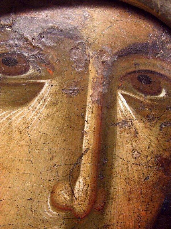 Чудотворная Нямецкая икона Божией Матери. Византия, XIV век. Нямецкая Лавра, Румыния. Фрагмент.