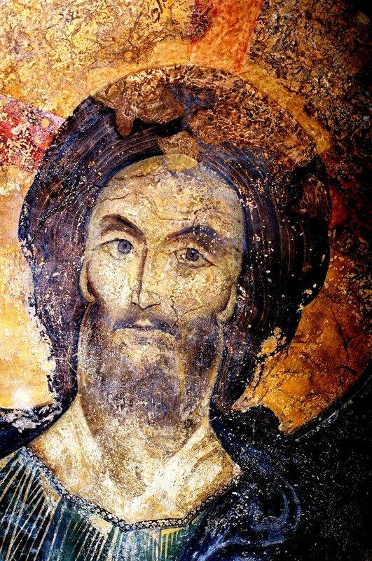 Лик Спасителя. Фрагмент фрески купола церкви Святых Николая и Пантелеимона (Боянской церкви), Болгария. XIII век.