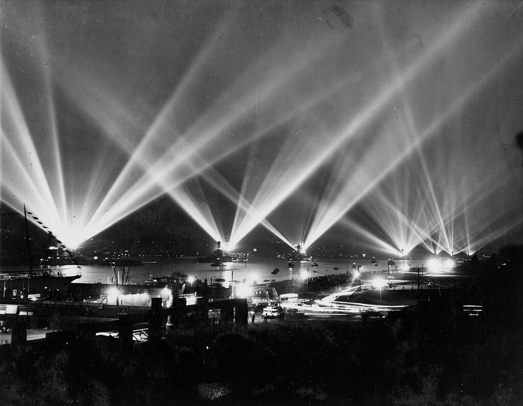 United States fleet in night review conducting searchlight drill during fleet review, New York on 31 May 1934