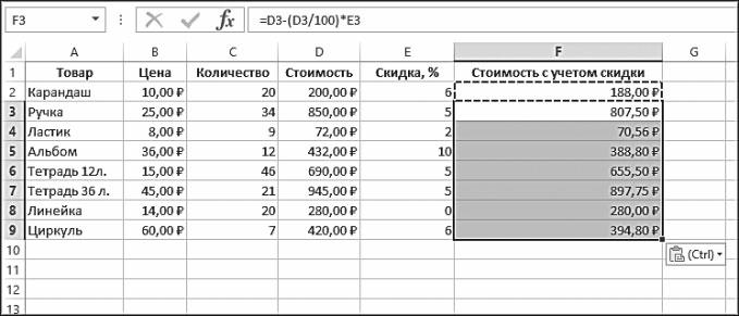 Рис. 5.43. Формула размножена на остальные ячейки столбца F