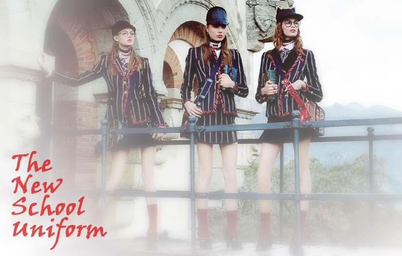 Lindsey Wixson, Caroline Brasch Nielsen, Bette Franke by Giampaolo Sgura / The New School Uniform in Vogue Japan october 2013