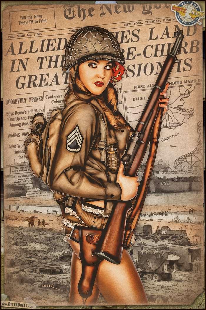 Армейский pin-up в стиле 1940-х годов от американского художника Britt Dietz (11)