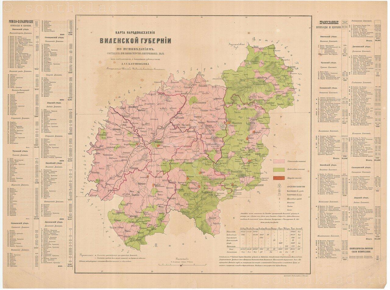 08. Карта народонаселения Виленской губернии по исповеданиям