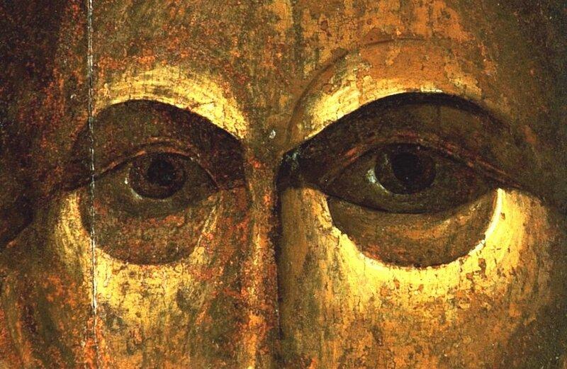 Спас Нерукотворный. Икона. Москва, третья четверть XIV века. Фрагмент.