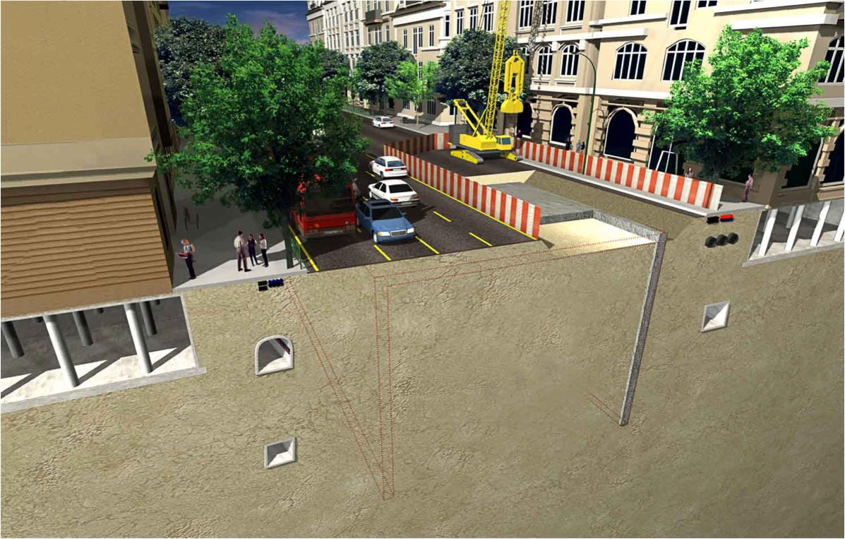 На втором этапе огораживается строительная площадка шириной примерно в три полосы движения, движение на улице переносится на оставшиеся полосы