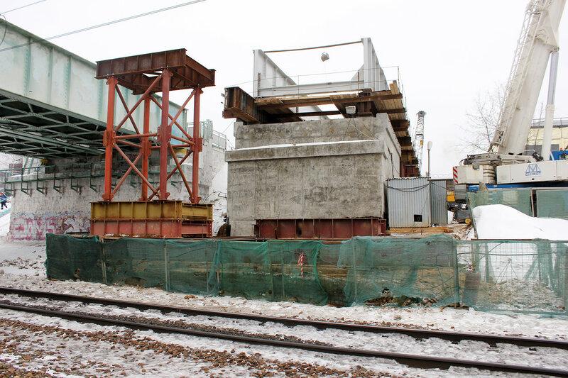 Строительство моста третьего пути МОЖД над Рижским направлением