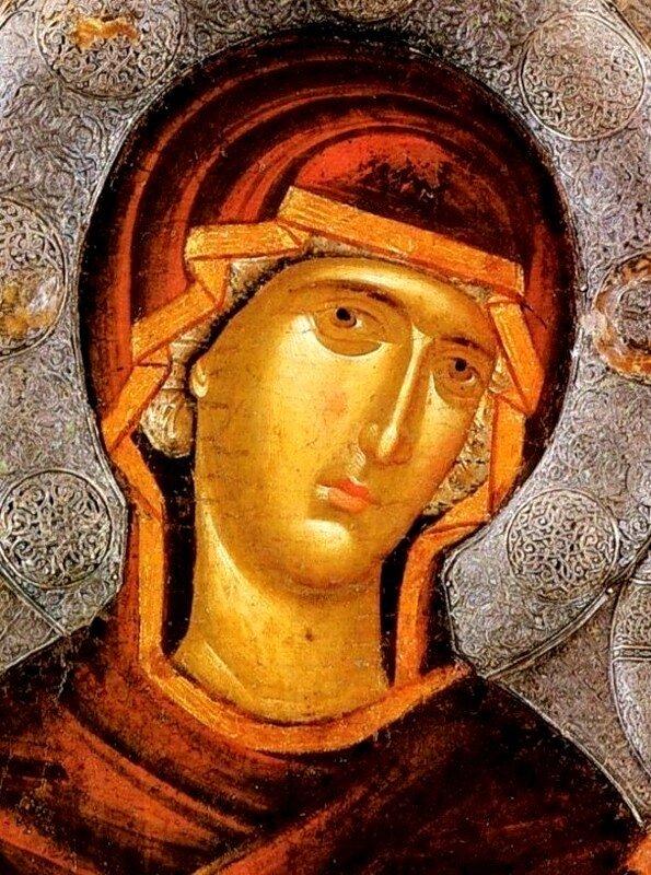 """Икона Божией Матери """"Душеспасительница"""". Константинополь, около 1312 - 1325 годов. Галерея икон в Охриде, Македония. Фрагмент."""