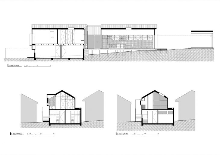 When presented at the street elevation, Datum House borrows from the neighboring properties in roof