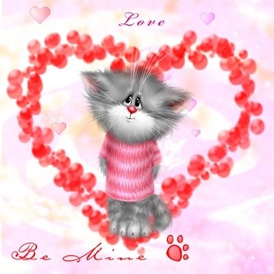 Открытки для любимой девушки с котятами 23