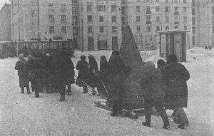 1941, ноябрь. Женщины занимаются перевозкой надолб на Московском шоссе