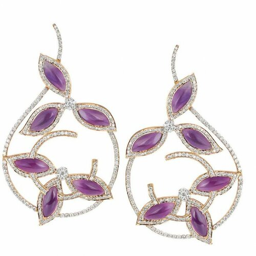 Minawala - Amethyst, diamond and gold earrings
