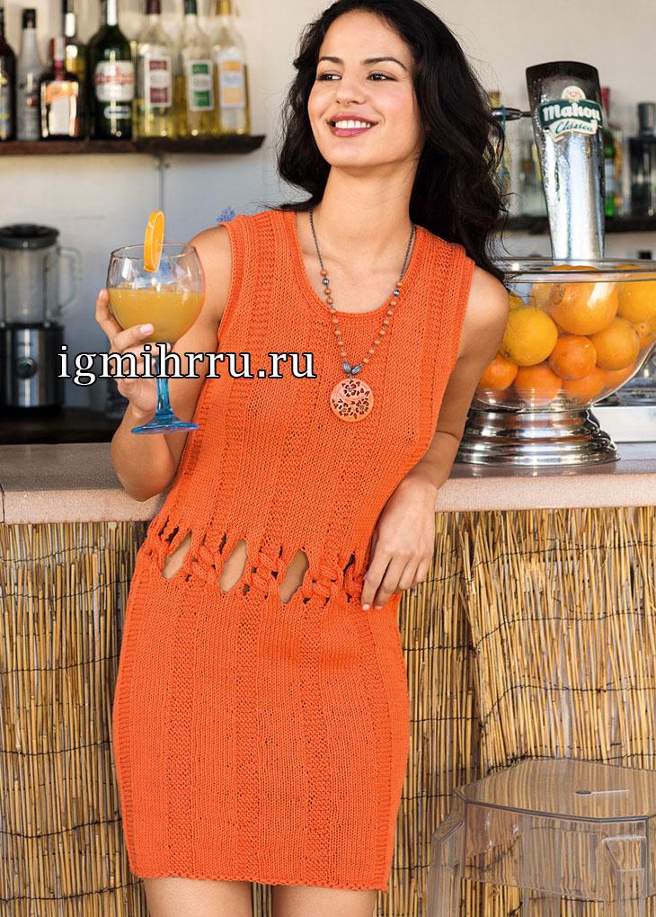 Летнее оранжевое платье с узлами на талии. Вязание спицами