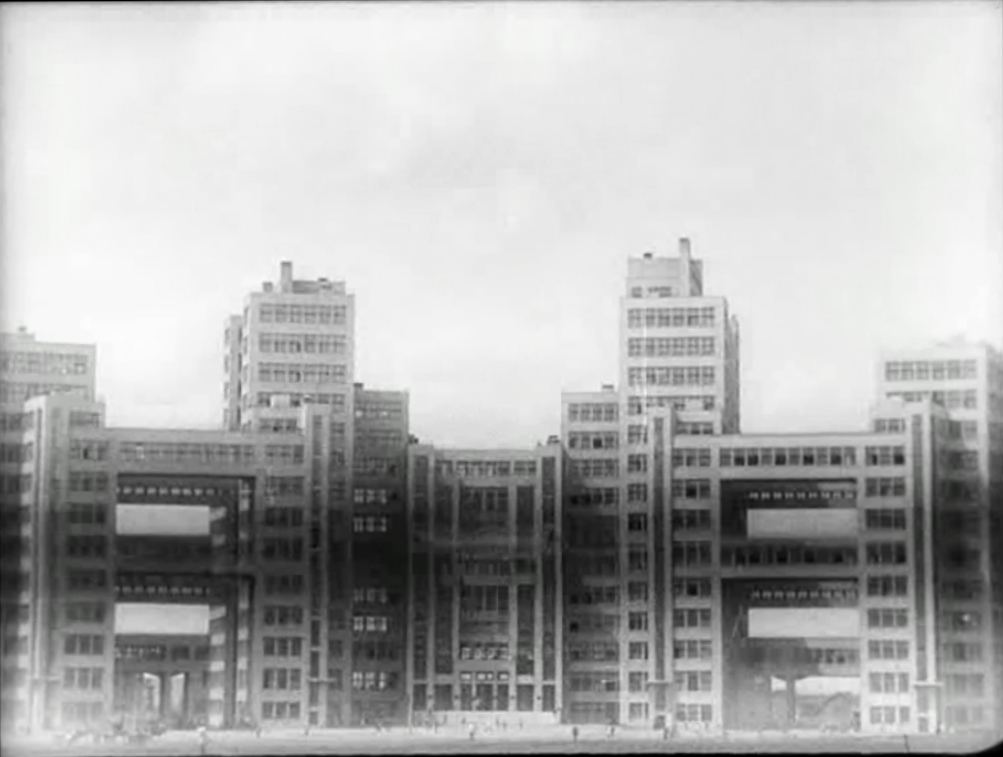 Derzhprom building in Kharkov (arch. Sergei Serafimov, completed in 1928), as seen in Eisenstein's The Old and the New (1929).jpg