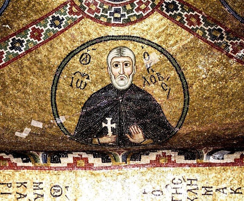 Святой Преподобный Иоанн Колов. Мозаика монастыря Осиос Лукас (Преподобного Луки), Греция. 1030 - 1040-е годы.