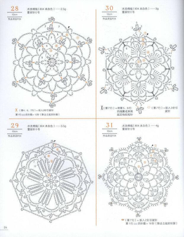 ажурные цветочные мотивы крючком схемы