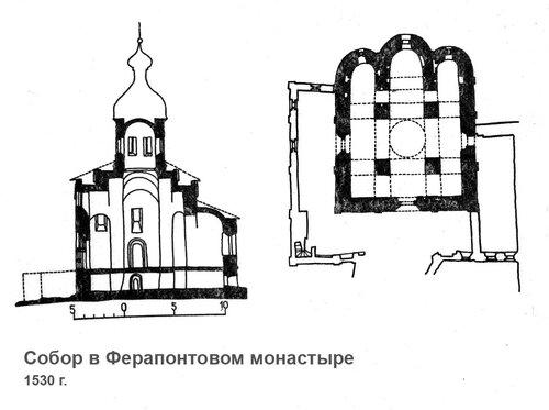 Церковь Благовещения в Ферапонтовом монастыре, чертежи