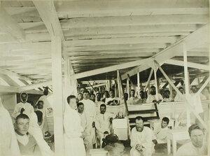 Вид части палаты для раненых, оборудованной в трюме баржи-лазарета имени Ее величества государыни императрицы Марии Федоровны