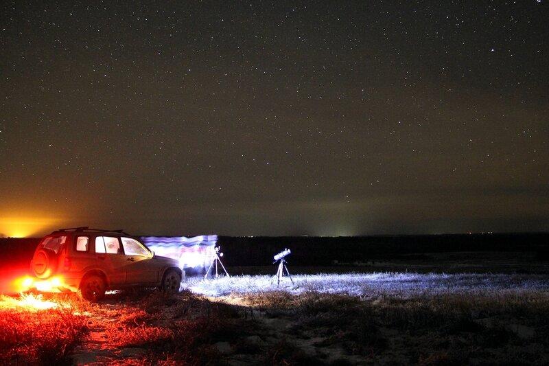 Автомобиль, телескоп и звездное небо 23 ноября 2014 г. Астрономический выезд в Шалегово (Оричи, Кировская область)