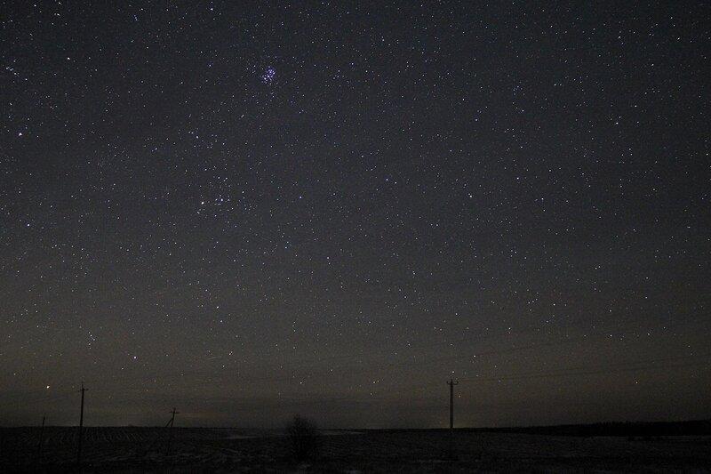 Звездное небо и скопление Плеяды 23 ноября 2014 г. Астрономический выезд в Шалегово (Оричи, Кировская область)