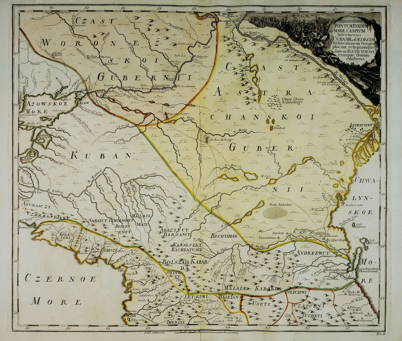 1745. Карта земель между Черным и Каспийским морями