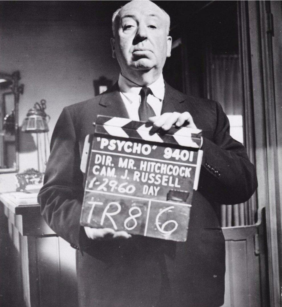 1960. Альфред Хичкок на съемочной площадке своего фильма «Психо»