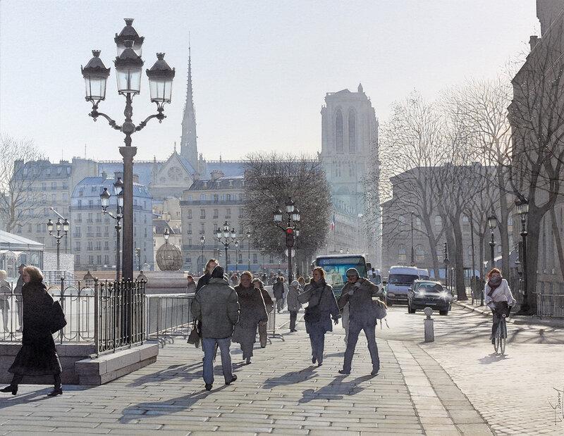 Hiver ensoleillé sur la place de l'hôtel de ville de Paris