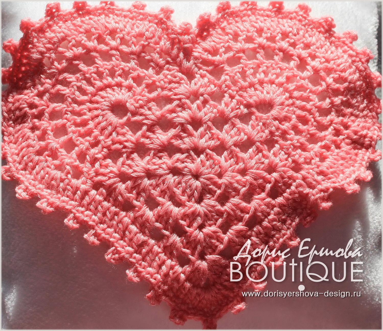 Сердечко из синели, мохера и шерсти, белый, декор, связано крючком, декор ко дню всех влюбленных. Фото, дизайн, исполнение - © Дорис Ершова