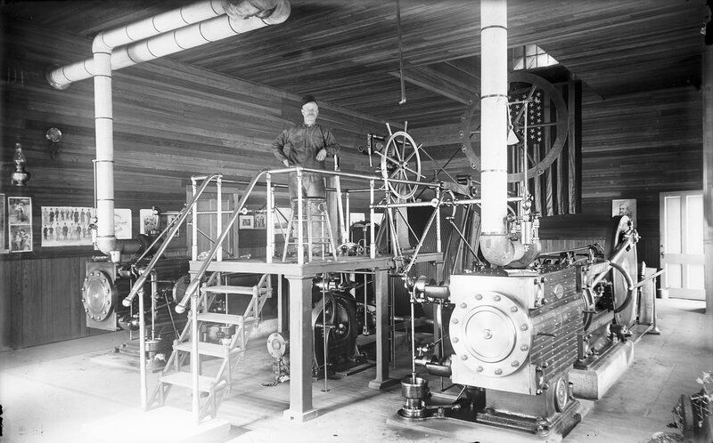 Hoisting engineer on a platform in the shafthouse of the Stanley Mine near Idaho Springs (Clear Creek County), Colorado, between 1890 and 1910