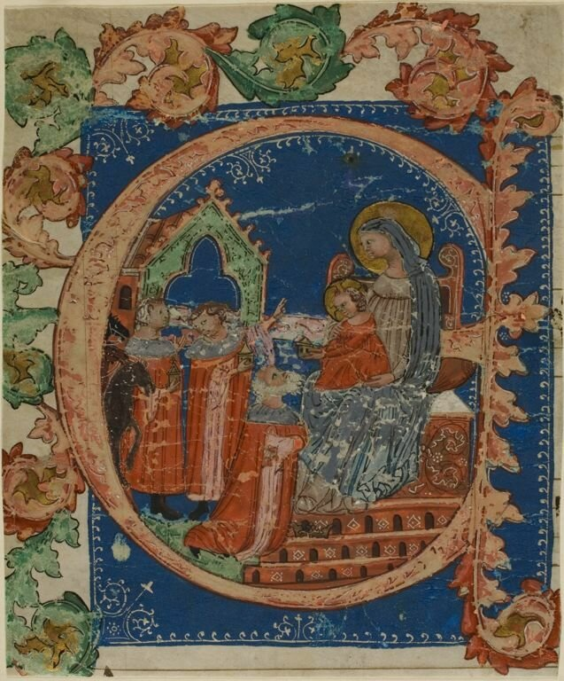 """The Adoration of the Magi in a Historiated Initial """"E"""" from a Choirbook, 1375/1425"""