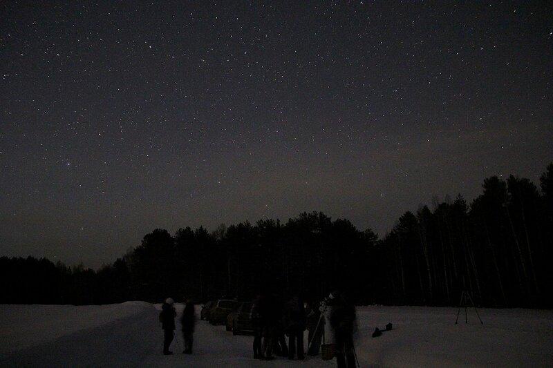 Астрономический выезд в Жданухино: телескоп и машины