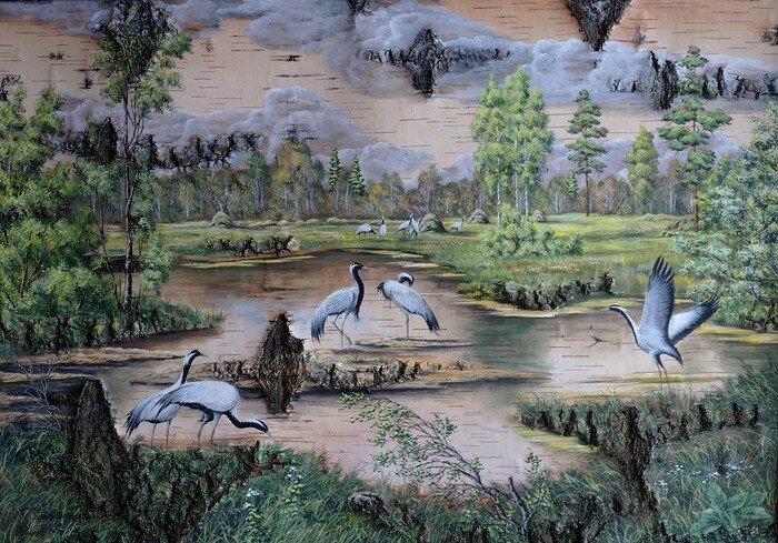 Пейзажи на бересте Александра и Татьяны Норык