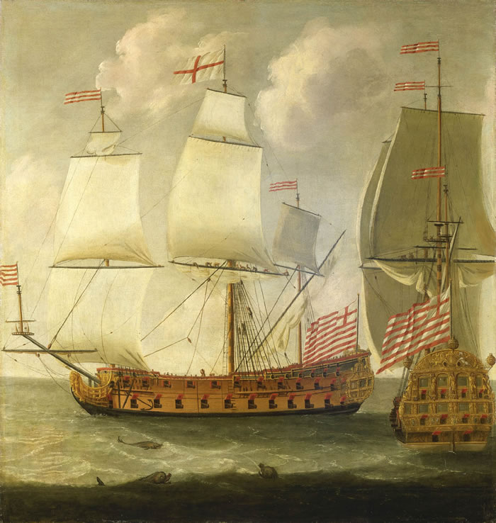 Isaac_Sailmaker_-_Two_Views_of_an_East_Indiaman_of_the_Time_of_King_William_III.jpg