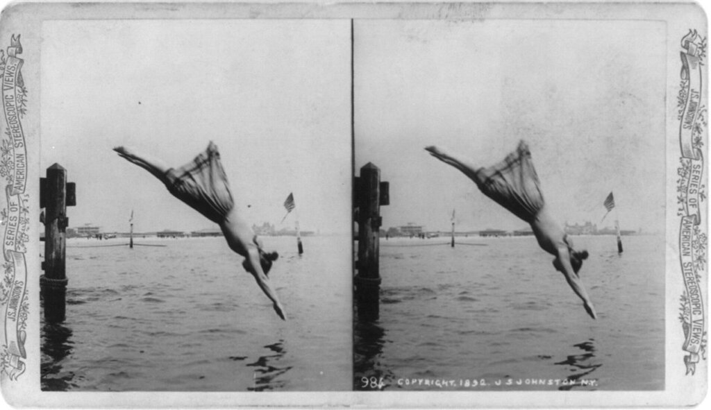 Stereocard of woman diving in a standard swimsuit. J.S. Johnston ca.1892.jpg