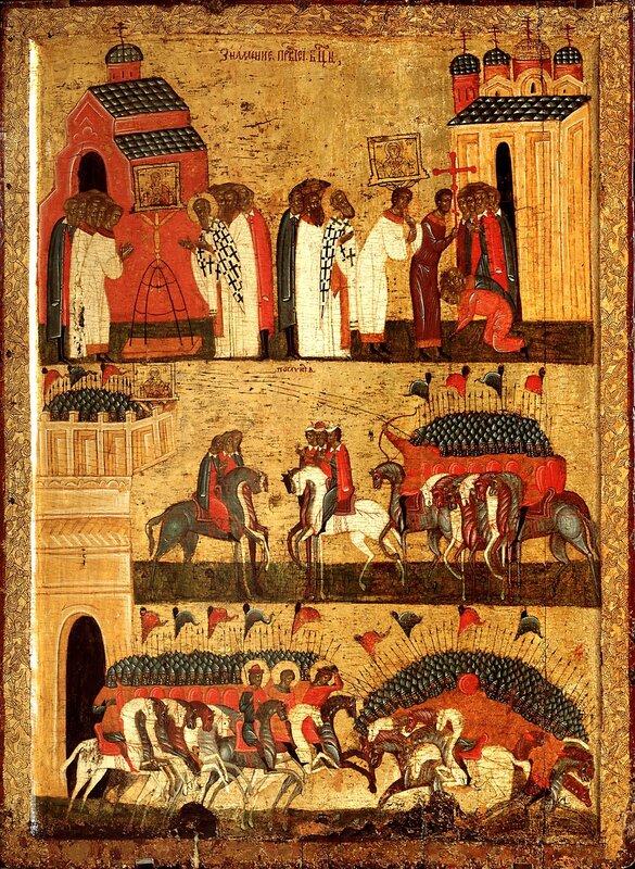 """Чудо от иконы Божией Матери """"Знамение"""" (Битва новгородцев с суздальцами). Икона первой половины XV века."""