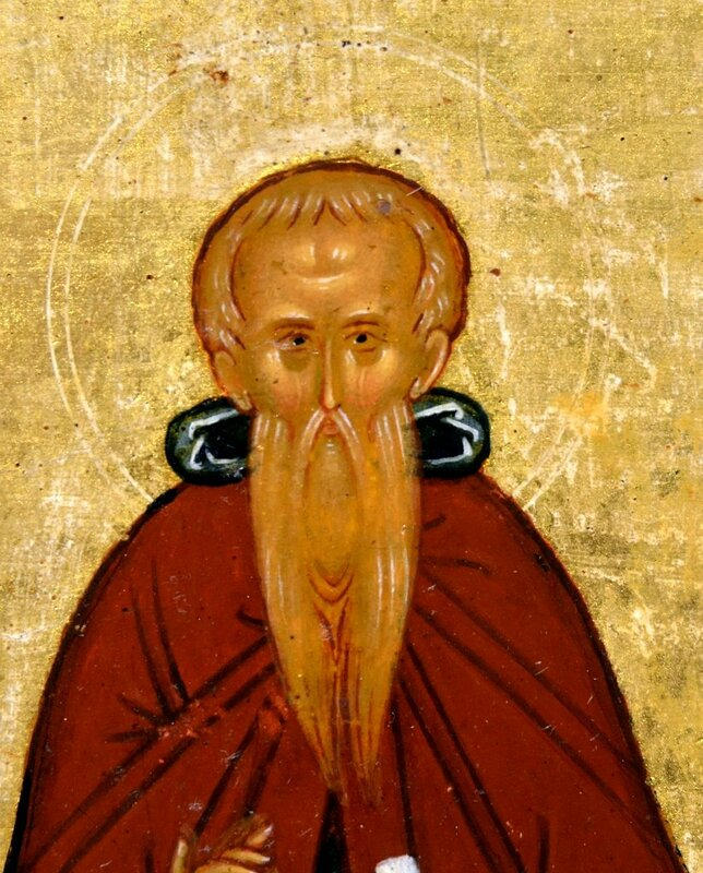 Святой Преподобный Феодосий Великий. Фрагмент новгородской иконы. Конец XV века.