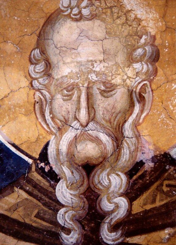 Святой Преподобный Феодосий Великий. Фреска монастыря Высокие Дечаны, Косово, Сербия. Около 1350 года.