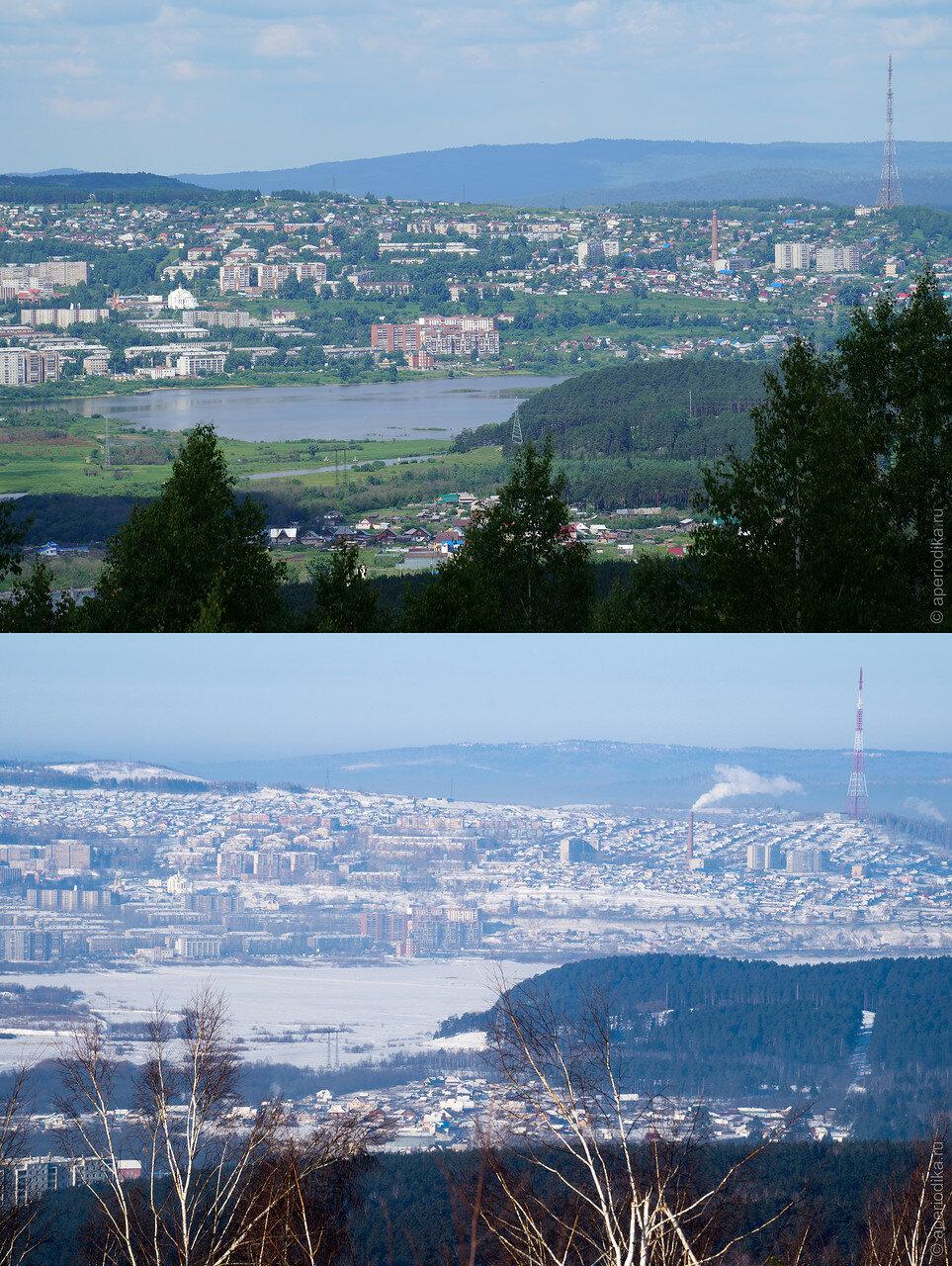 Город Златоуст. Вид с Лысой горы. Лето-Зима