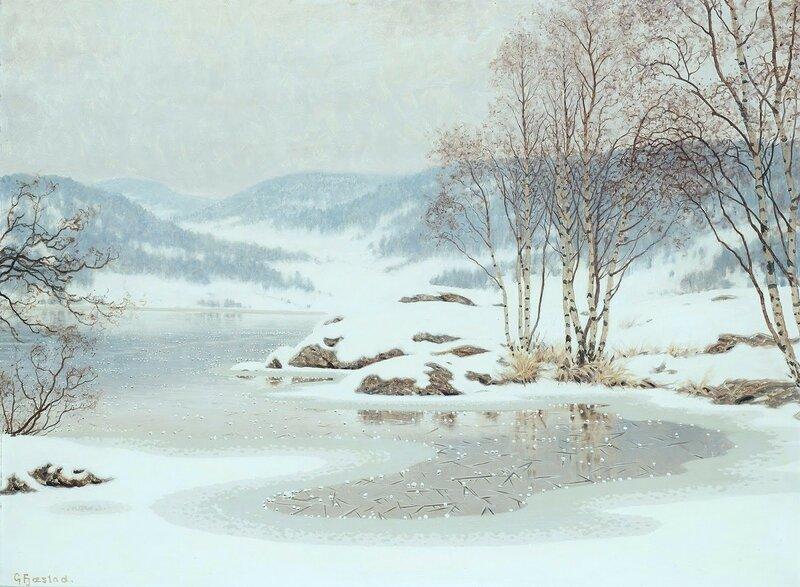 Gustaf Fjaestad. Снег на замерзшем озере.jpg